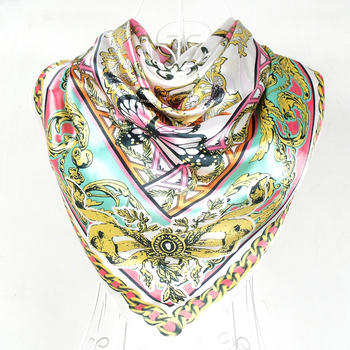 2014 New Arrival Popular Pattern Polyester Silk Scarf Printed For Ladies Multicolor Big Square Women Silk Scarf Shawl 110*110cm