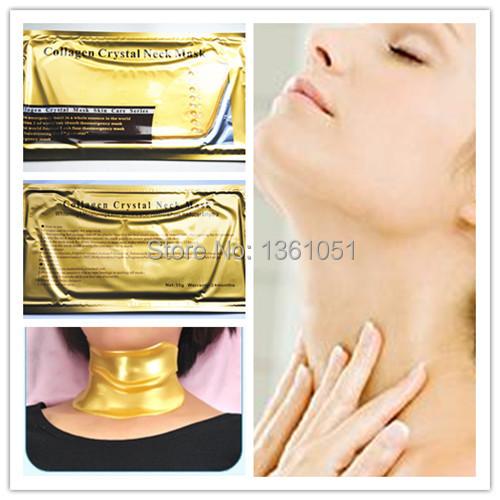 Free shipping 2pcs Anti-aging Anti-wrinkle Whitening Moisture moisturizing Puffiness gold Crystal Collagen skin Neck Mask(China (Mainland))