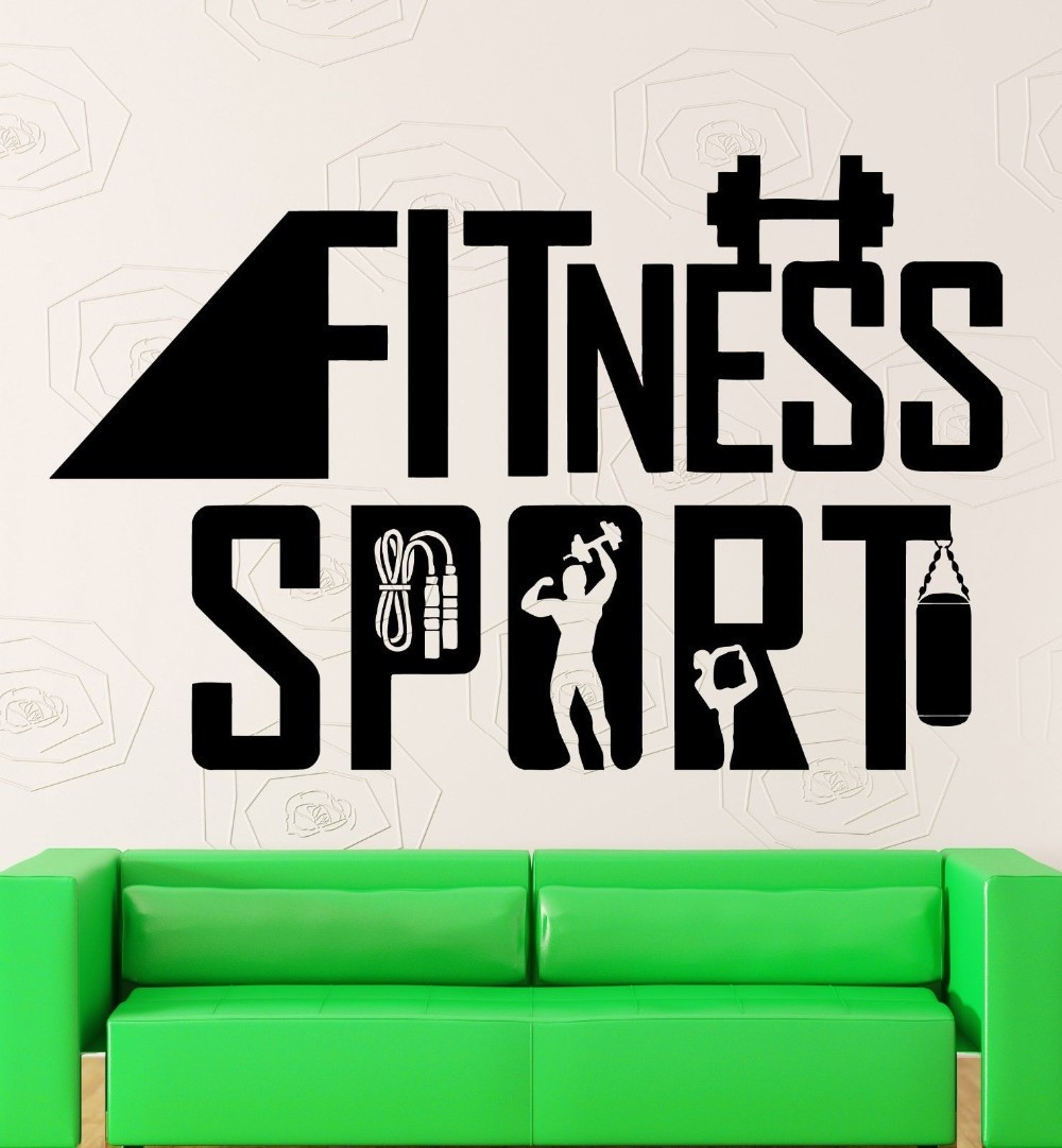 Fitness Sport Wall Stickers DIY VInyl Removable Gym Wall Decor Waterproof Sports Wall Sticker for Bedroom Living Room Wall Art(China (Mainland))