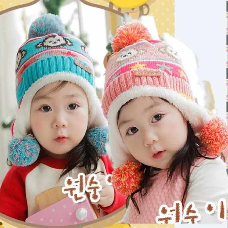 New autumn and winter thicken knitting wool monkey design child baby hat children warm cap ETM003(China (Mainland))