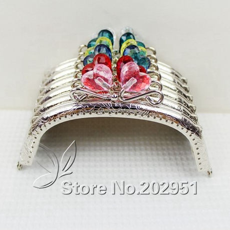 20 pcs/lot 12.5 cm Sliver Heart Flower Head Candy Bead Purse Frame Handle for Bag Sewing Craft Tailor Sewer wholesale(China (Mainland))