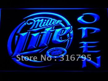 029-b Miller Lite Beer OPEN Bar LED Neon Light Sign