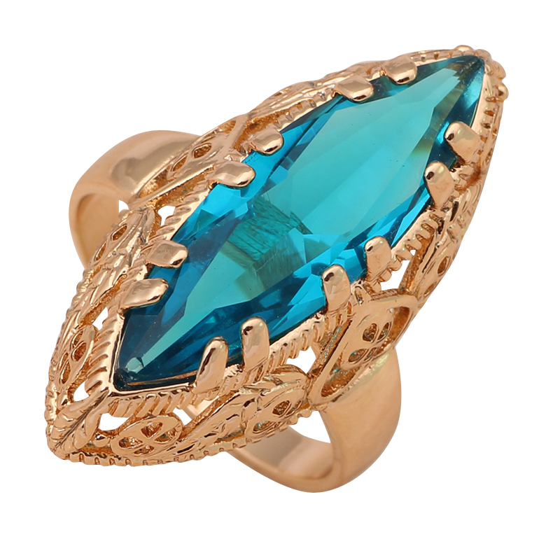 Sapphire jewelry Huge ring 18K Gold Plated Health Fashion Jewelry Nickel & Lead Free Golden Element Ring Sz #7#8#9 JR2022A(China (Mainland))