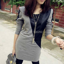 Patchwork Black Grey Long Sleeve PU Leather Cotton Autumn Casual Slim Mini Dress 2015 New free shipping(China (Mainland))