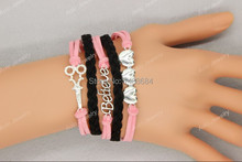 Rhinestone Scissors Believe And Heart Lover's Bracelet ,Custom Bracelet, Free shipping!  Aolo00143(China (Mainland))