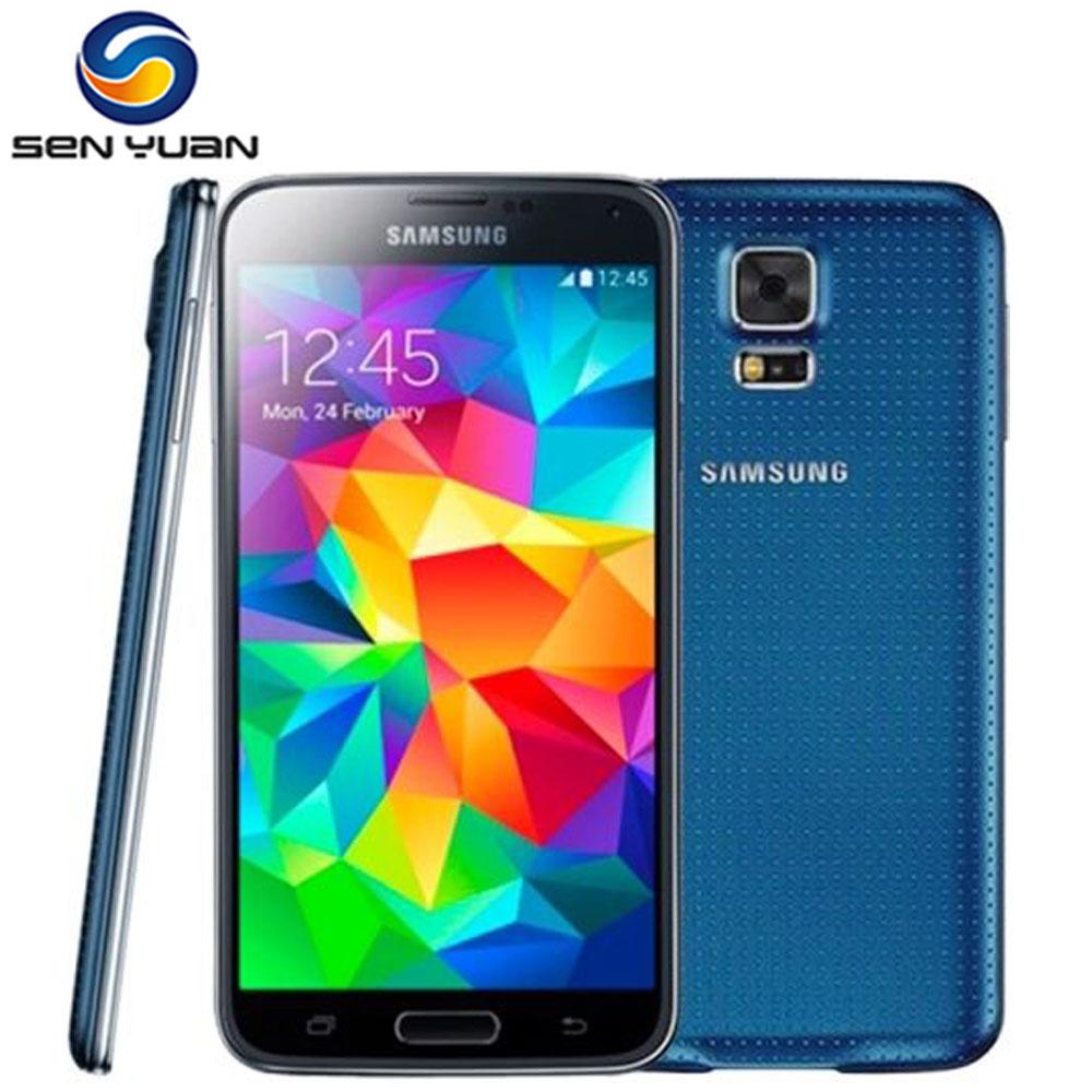 S5 Original Samsung Galaxy S5 I9600 G900F G900T G900A G900P Cell Phone 16MP Quad-core GPS WIFI unlocked mobile phone STORE)