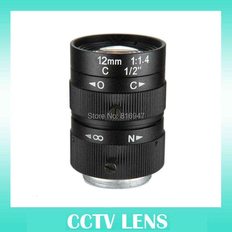 1/2 inch 3 megapixel cctv lens 12mm manuali iris cameras, F1.4 C mount lens, - Wellcam Lens store