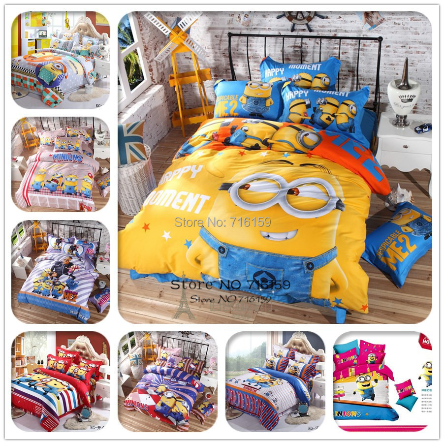 100% cotton Bedding set cartoon Printing Minions bedclothes Baby children kids bed linen king queen twin full duvet cover set(China (Mainland))