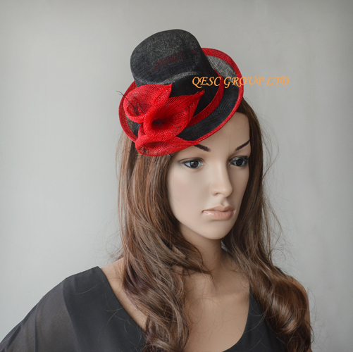 Red black Sinamay Fascinator Mini Hat for Kentucky Derby,Ascot Races,Melbourne,Wedding,Party.(China (Mainland))