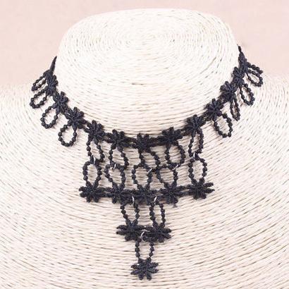 produto 2014 new Wholesale fashion vintage lace necklaces pendants chocks short design necklace chain women accessories false collar 164