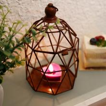 Creative zakka Iron Craft Candlestick Geometrical Romantic Birdcage Lantern Metal Crafts Home Decoration Wedding Birthday Gift(China (Mainland))