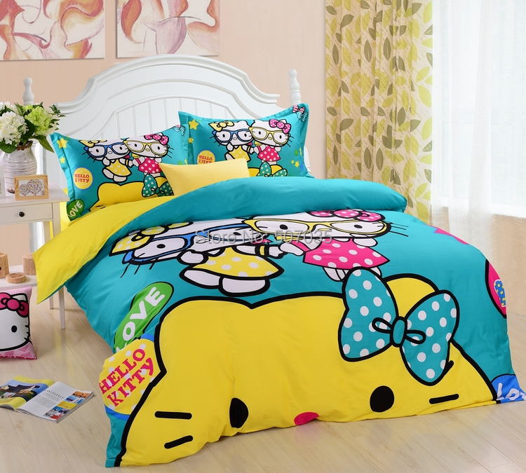 Yellow blue sisiter hello kitty 100 cotton sets duvet - Yellow and blue bedding queen ...
