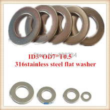 Buy 100pcs high 316 stainless steel m3 flat washer/plain washer/shim washer ID3*OD7*T0.5 for $4.03 in AliExpress store