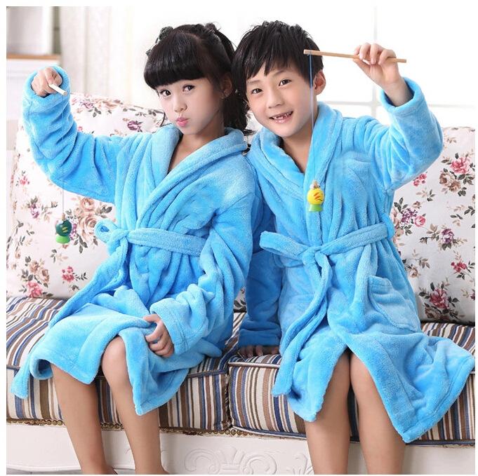 Long thick pick code children children adult mink cashmere flannel Nightgown warm bathrobe children(China (Mainland))