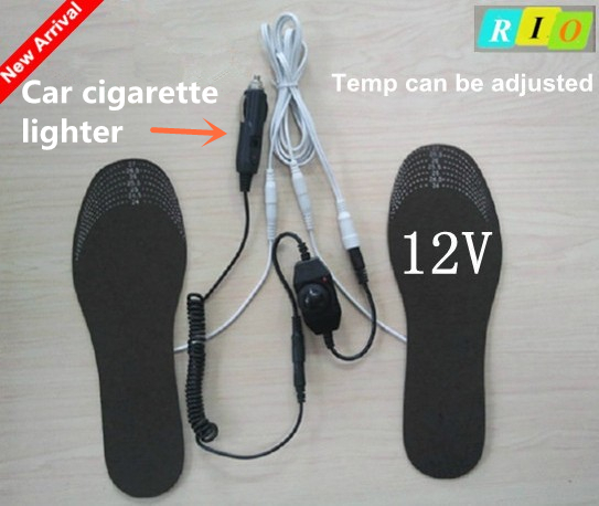 12V Heated Insole with car cigarette lighter, with Adjustable Power Adapter Supply Electric heating insole for winter LB007<br><br>Aliexpress
