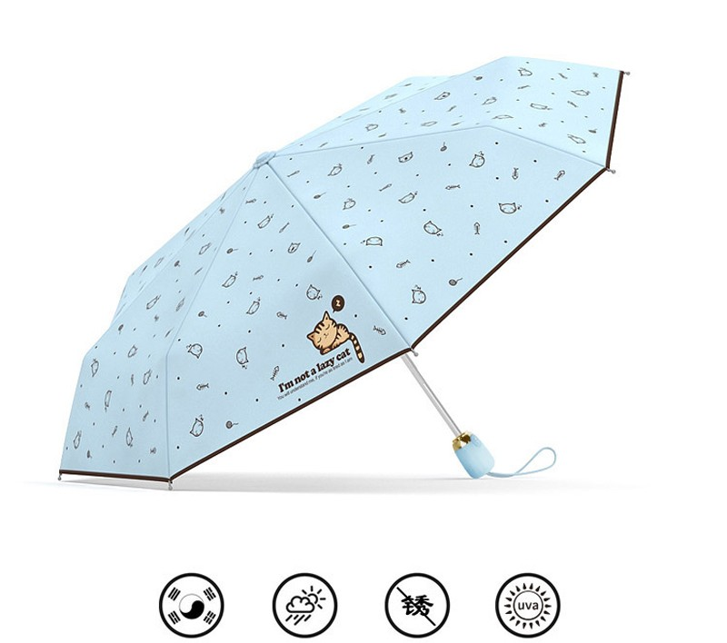 Cartoon Lazy Cat Auto Open/Close Folding Umbrella Rain Women Men Sun ...