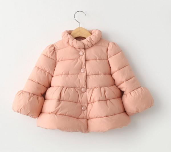 Free DHL EMS baby girls winter warm coats children pure color long sleeve tops kdis fashion cotton-padded clothes JL-1270<br>