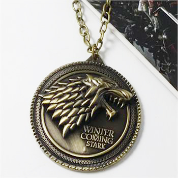 8 styles HBO Game of Thrones necklace House Stark Winter Is Coming Bronze 2 Metal Family