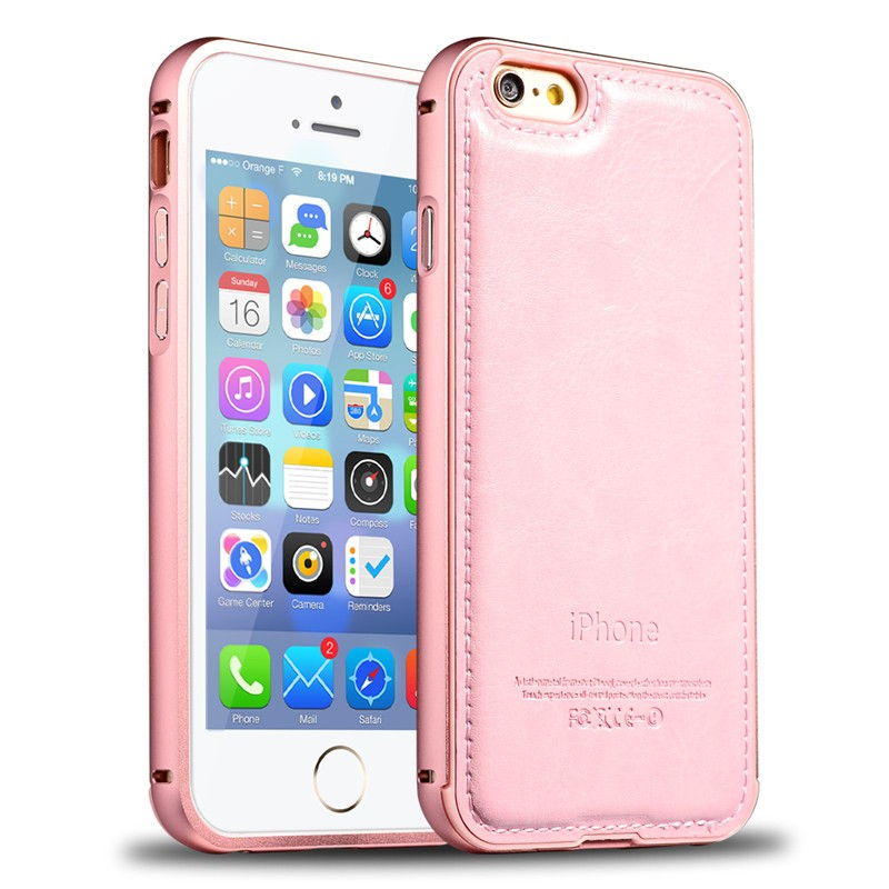 pink case For iphone 5 5S 6 6S 6 Plus 6S Plus metal Aluminum phone bumper + Genuine leather case For apple With LOGO original(China (Mainland))