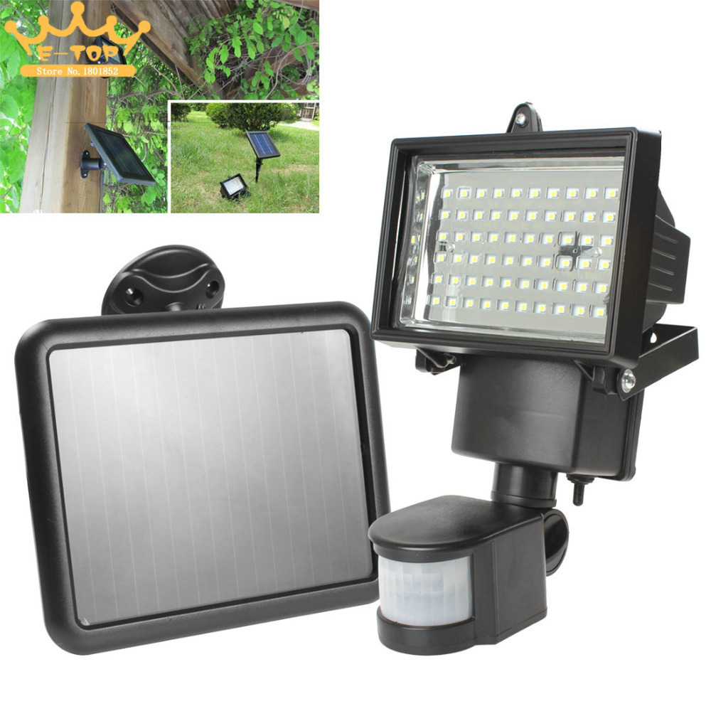 Solar Panel Floodlights LED Solar Flood Light Outdoor  PIR Motion Sensor 60 LEDs Garden Path Wall Emergency Lamp(China (Mainland))
