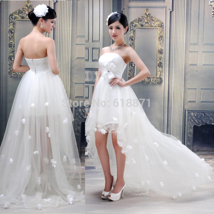 White short front long back wedding dress tulle appliques for Tulle high low wedding dress