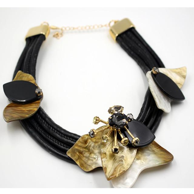 Воротникes 2016 акриловые ожерелья и кулоны мода колье черный кожаный каната ожерелье ...