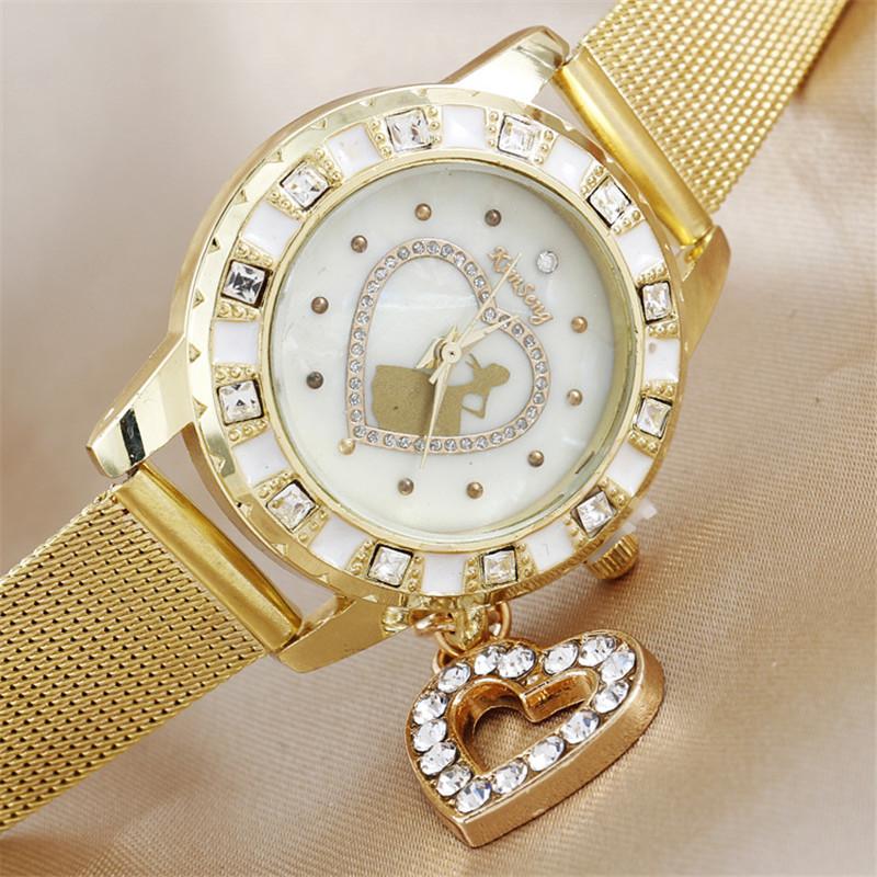 2016 New Arrival Luxury Brand Rhinestone Watches Women Fashion Design Princess Heart Pendant Stainless Steel Gold Quartz Watch(China (Mainland))