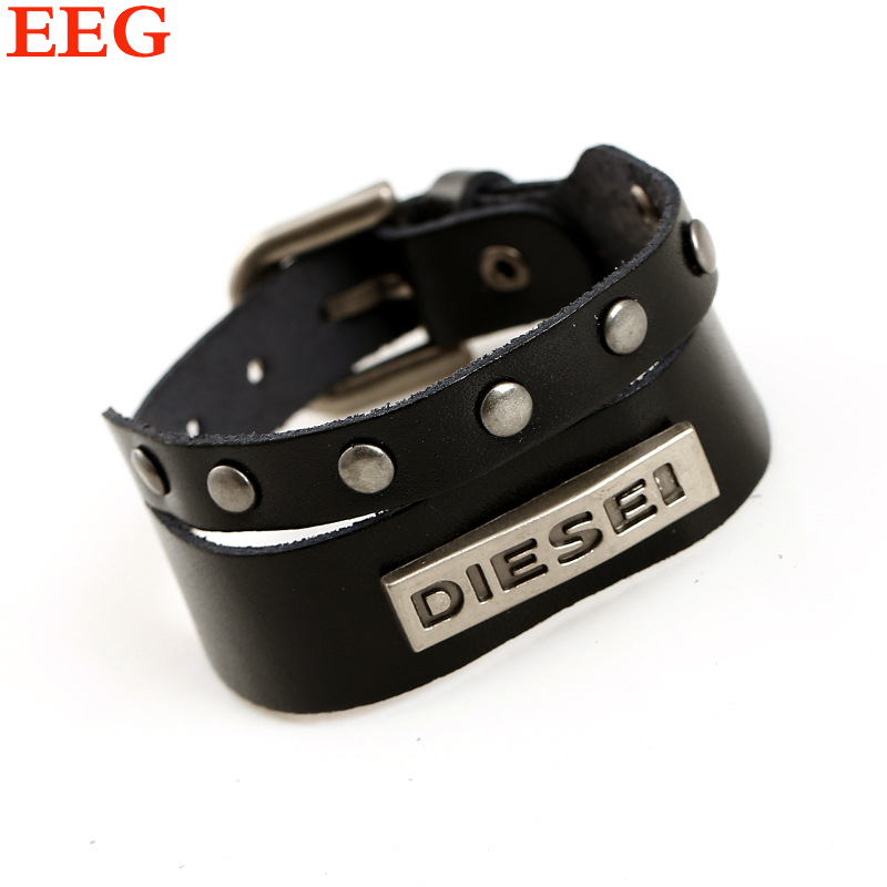 pulseira masculina vintage DZ charm bracelet men genuine Leather bracelets bangles Only The Brave men bracelet