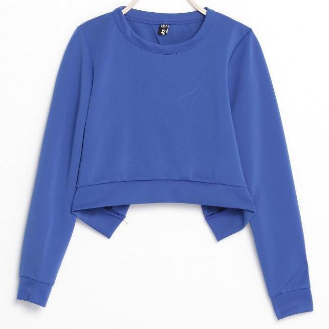 New 2016 Spring Fashion Sexy Open Back Short Crop Sweatshirt Woman Korean Brand Ulzzang Cross Back Cropped Sweat Suits(China (Mainland))