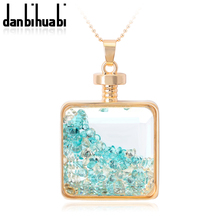 Fashion Rose Gold Plated Glass Bottle Necklace For Women Colorful Crystal  Rhinestone Necklace &pendants   women's gifts(China (Mainland))