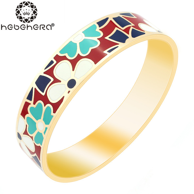 Promotional 1.5CM Width Flowers Pattern 18K gold-plated enamel bangle for woman Top quality bracelet A5(China (Mainland))