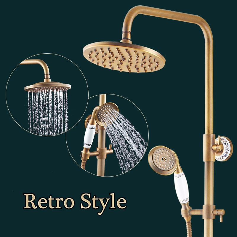 Shower Head Set Brass Shower Head+Hand Shower+Hose Antique Brass Wall Mounted Mixer Valve Rainfall Shower Faucet Complete Sets(China (Mainland))
