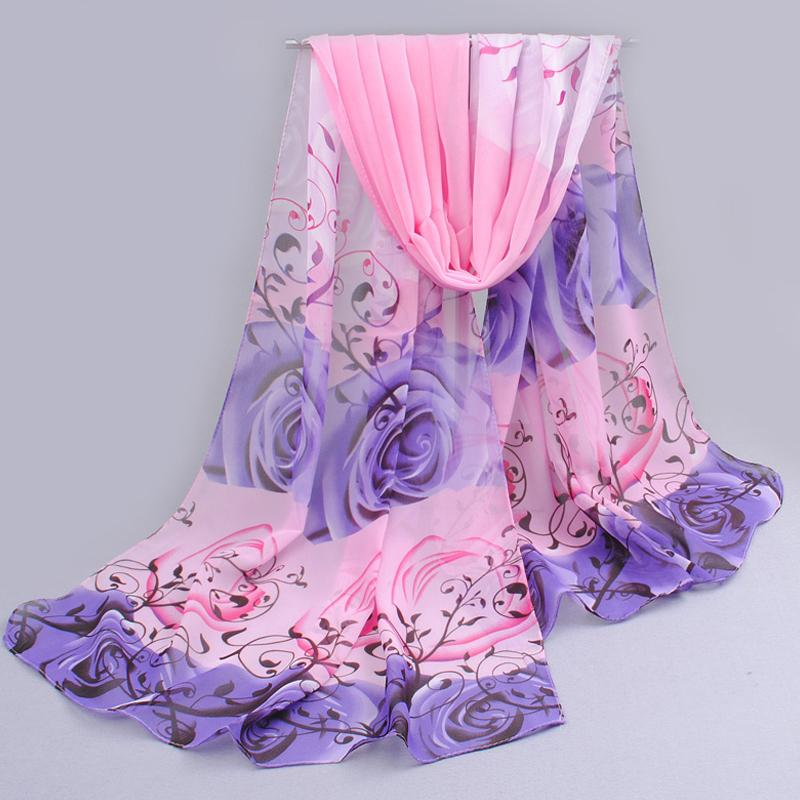 from india promotion 2016 rose print chiffon scarves woman thin shawl turban belt wholesale hijab fashion arabic scarfs wrap qsr(China (Mainland))