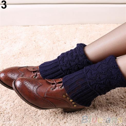 Women s Winter Crochet Knit Leg Warmers Toppers Cuffs Short Liner Boot Socks 1U9G 2TZC