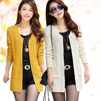 Женщины свитер длинный кардиган 2015 мода летний стиль с длинным рукавом тонкий вязаный кардиган женский свитера бесплатная доставка
