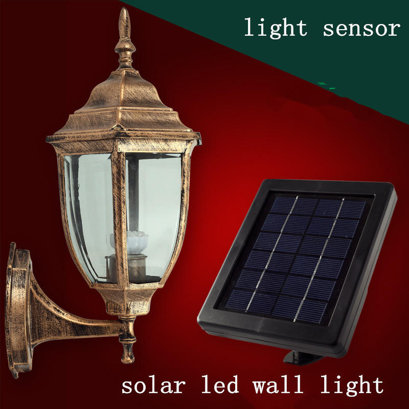 Solar lights wall outdoor wall lamp Villa Continental hexagonal wall light rain garden lights ...