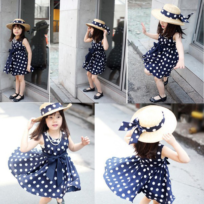 Summer Stylish Sweet Kids Toddler Baby Girls Princess Dress Sleeveless Polka Dots Bowknot Dress Deep blue vestido infantil Y3(China (Mainland))