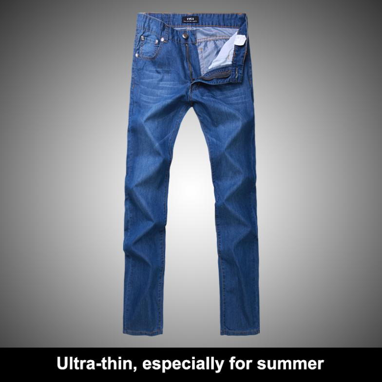 Brand Jeans Men: 2014 New Arrivals Ultra-thin Big Size Spring Summer Cotton Long Denim, Casual Slim Male Pants Trousers(China (Mainland))