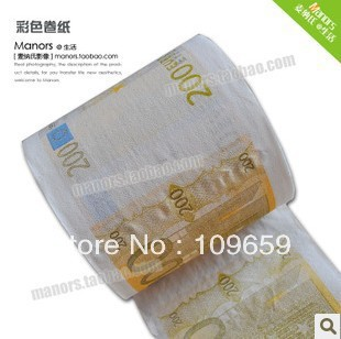 Free shipping paper money printed tissue toilet paper with 200 euros,toilet roll,145g(China (Mainland))