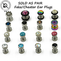 BOG 1 Pair Surgical Steel Cheater Faux Fake Stud Earring Ear Tunnel Plugs Gauges Piercing Body
