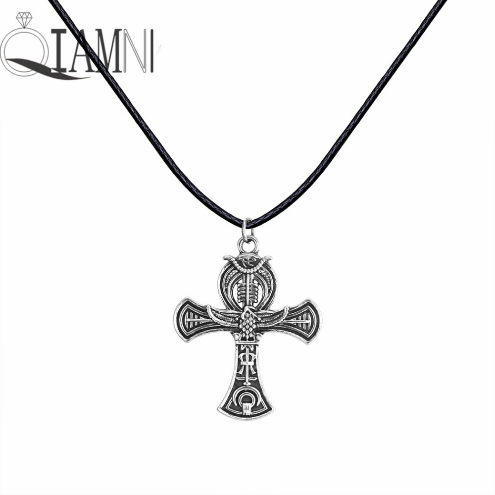 Antique Silver Punk Unique Ankh Egyptian Cross Life Rope Chain Slavic Pendant Necklace Christmas Jewelry Gift for Men Women