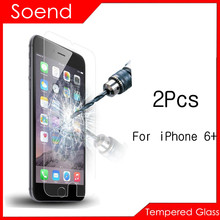2Pcs/Lot Tempered Glass Screen Protector For iPhone 6 5.5inch Protection Cover Toughened Protective Guard Film With Package 2