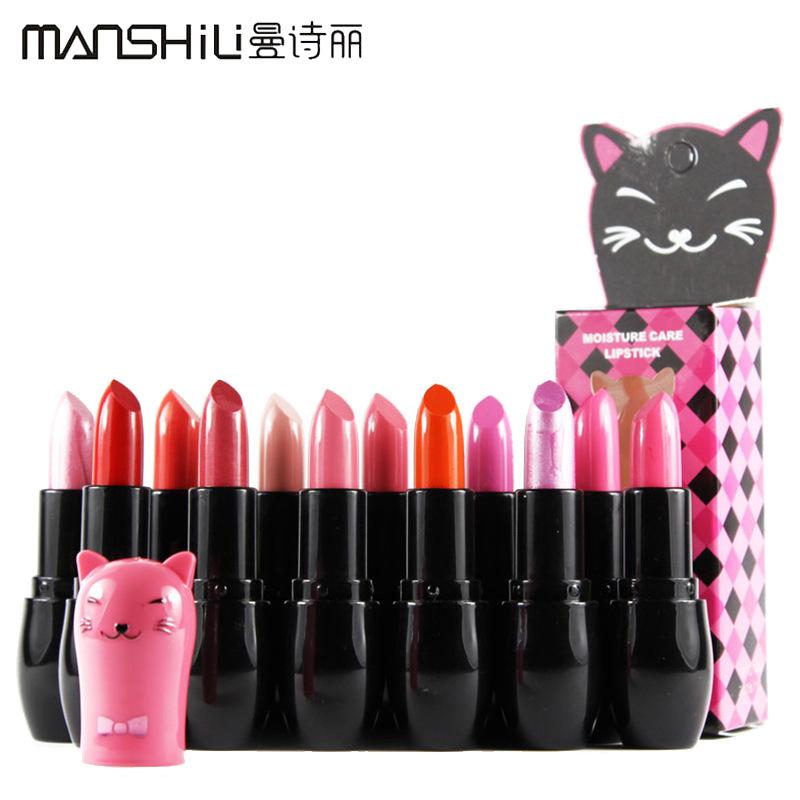 1PCS high quality brands MANSHILI romantic dazzle color-lipstick lasting-moisturizing 12 color options Lip makeup batom M108(China (Mainland))