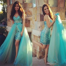 Crystal Beaded Prom Dresses With Detachable Train and Champagne Organza Skirt Sweetheart High Low Party Cocktail Dress(China (Mainland))