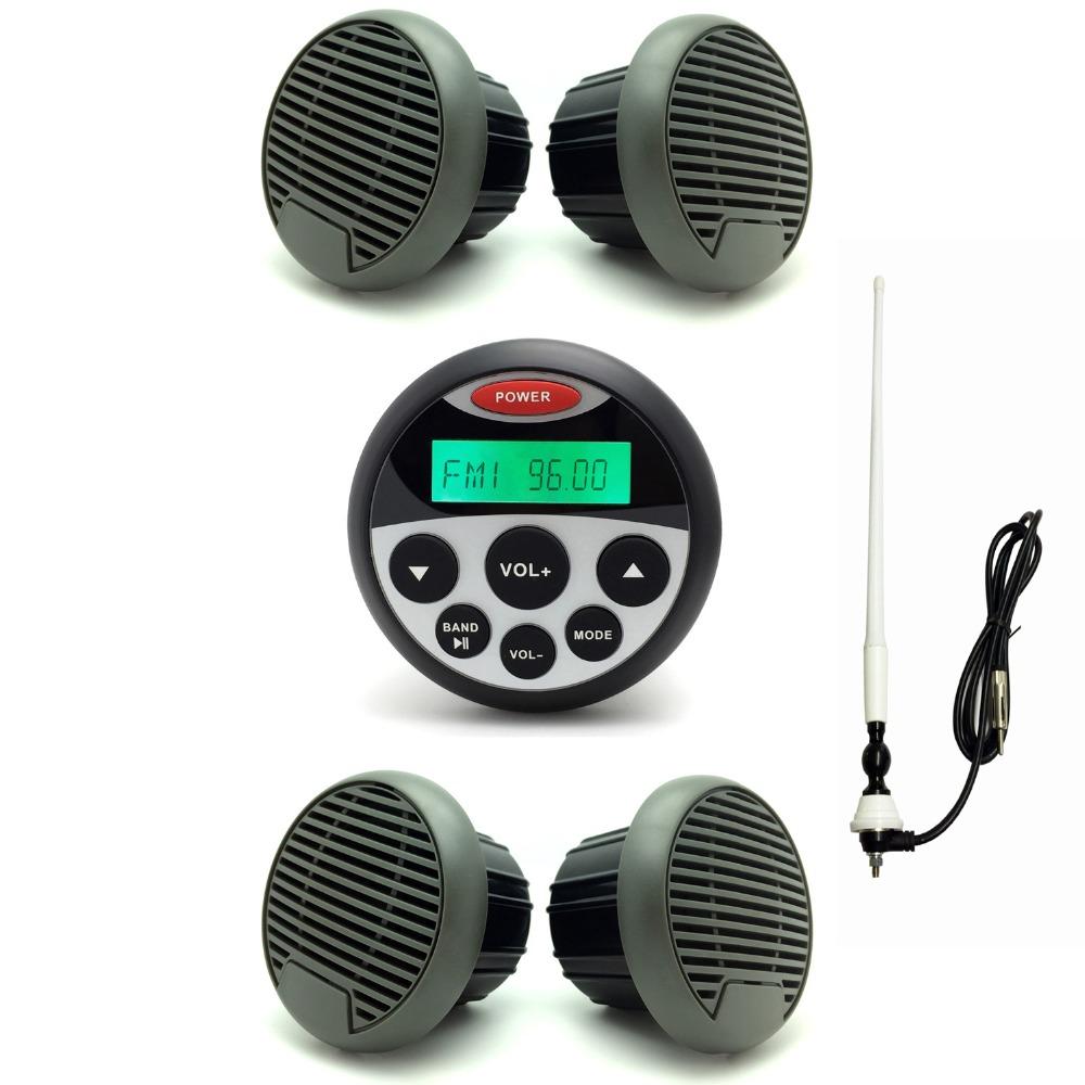 Waterproof Marine Radio Sound System for Boat SPA UTV ATV Stereo MP3 USB Audio Receiver + 3inch Marine Speakers+Antenna(China (Mainland))
