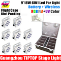 8IN1 Charging Flight Case 9 18W RGBWA UV Color Battery Powered LED Par Light 6in1 Color