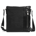 UniCalling high quality brand fashion men genuine leather shoulder bag plaid embossed surface men casual crossbody