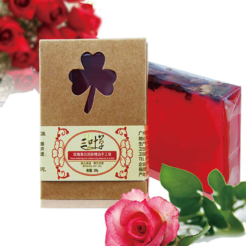 100g Pure natural Rose essential oil Rose petals Handmade Soap Whitening Skin Moisturizing Reduce melanin Cleansing Bath Soap(China (Mainland))