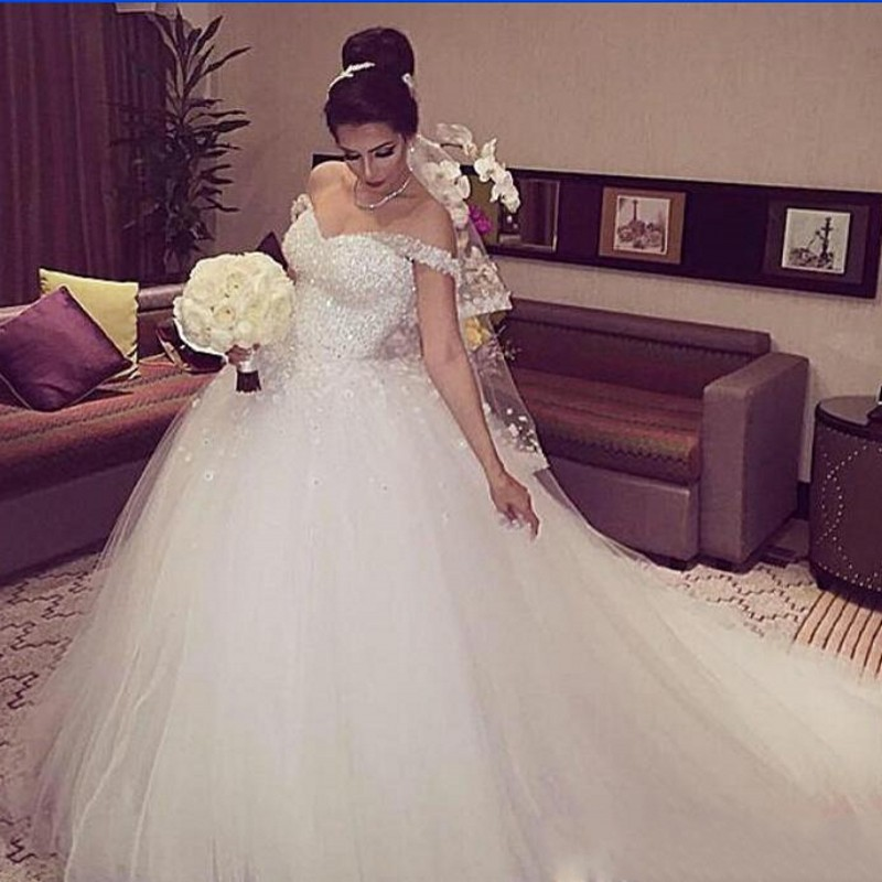 Glamorous 2016 new off the shoulder white beaded tulle for White off the shoulder wedding dress
