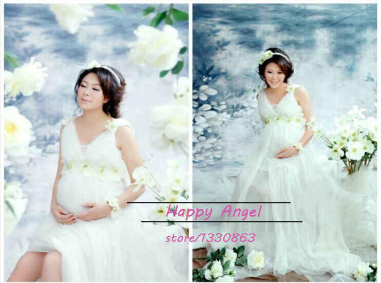 2015 New pregnant women Photography Props Chiffon Dress Pregnancy Photography Pure white  Romantic clothing set Free shipping<br><br>Aliexpress